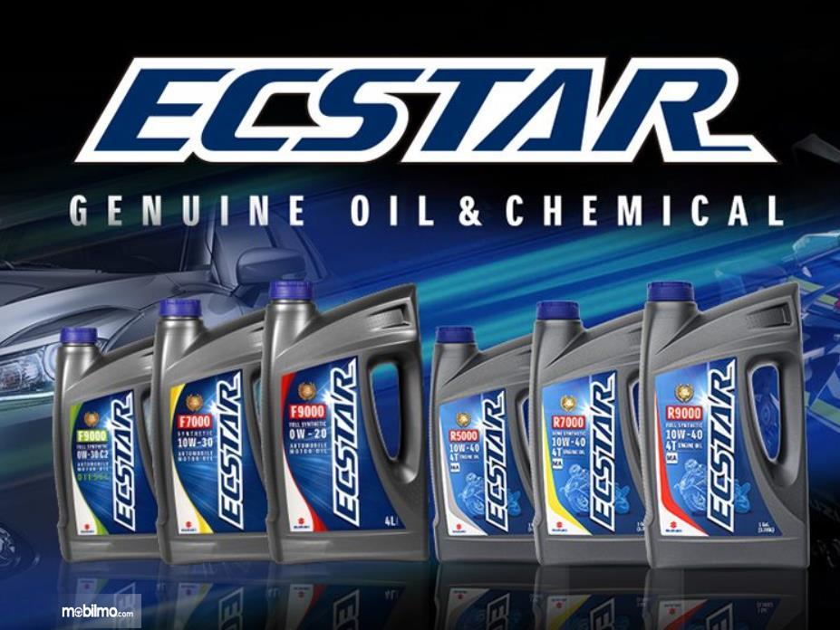Gambar ini menunjukkan beberapa oli dari Ecstar