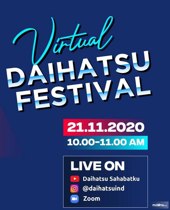 Gambar ini menunjukkan tanggal acara dan pelaksanaan Event Virtual Daihatsu Festival
