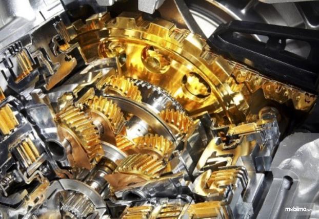 Gambar ini menunjukkan ilustrasi pelumasan komponen mesin mobil