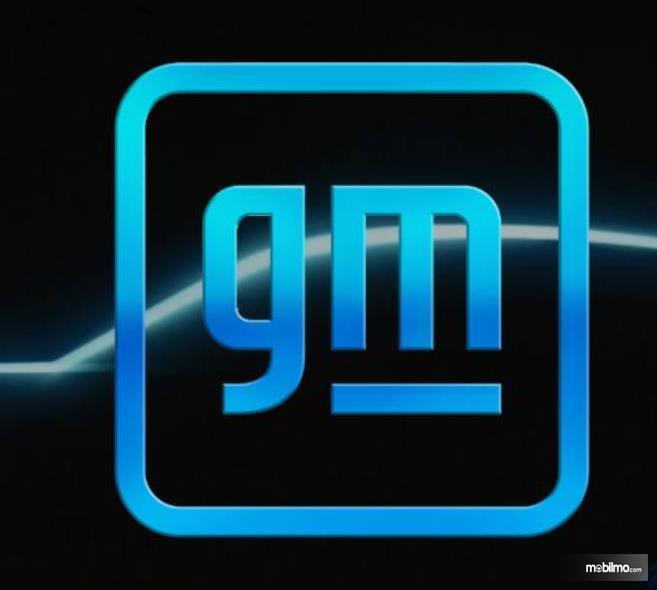 Gambar ini menunjukkan logo baru GM