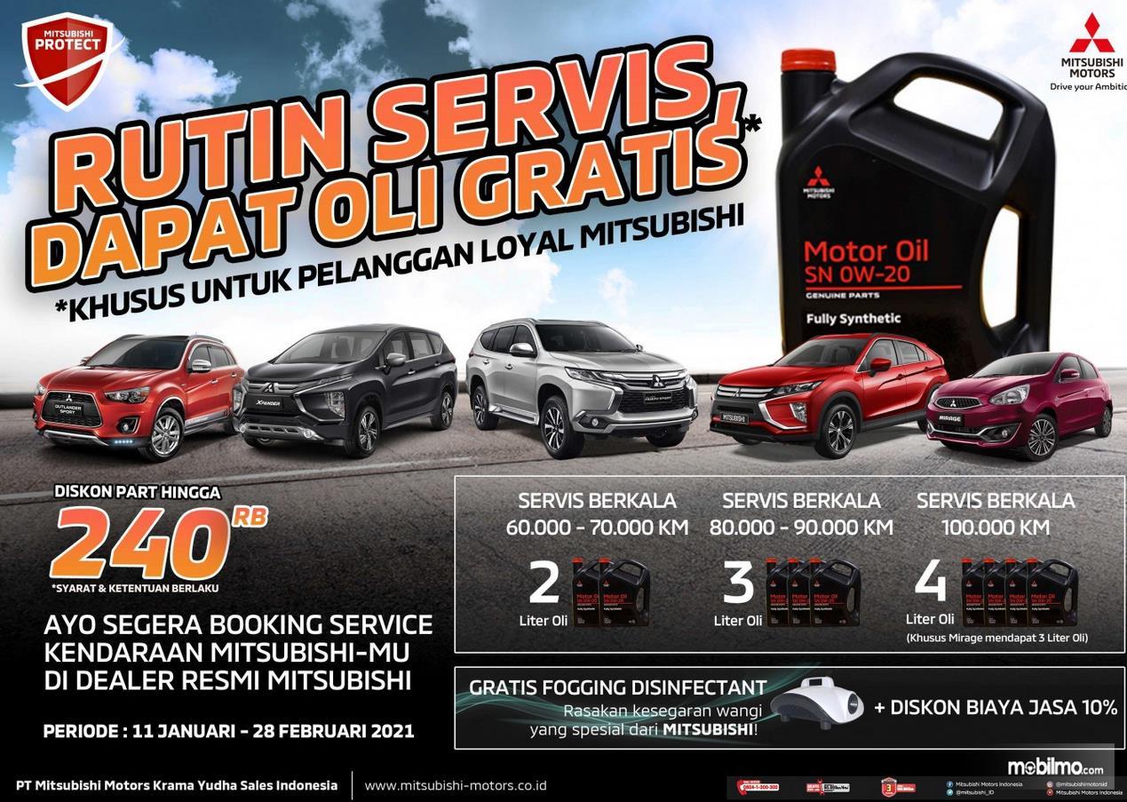 Gambar ini menunjukkan info untuk pelanggan loyal Mitsubishi