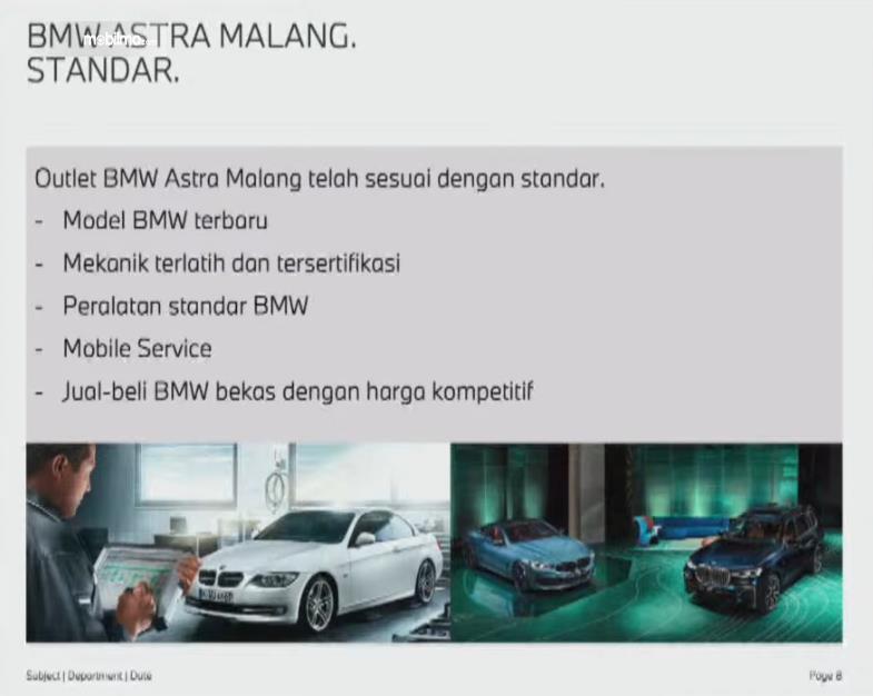 Gambar ini menunjukkan standar BMW ASTRA di Malang