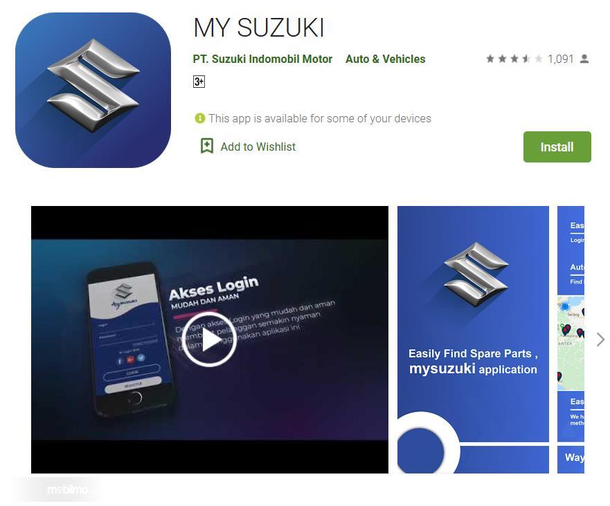 Gambar ini menunjukkan aplikasi My Suzuki di Playstore