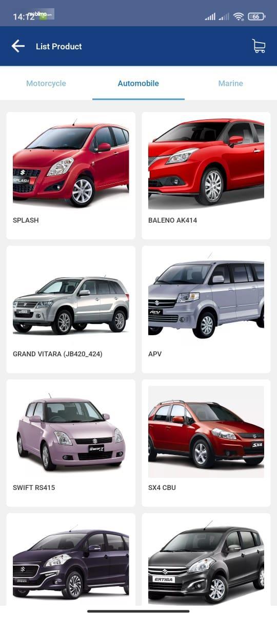 Gambar ini menunjukkan list produk pada aplikasi My Suzuki