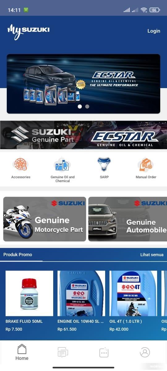 Gambar ini menunjukkan halaman Home pada aplikasi My Suzuki