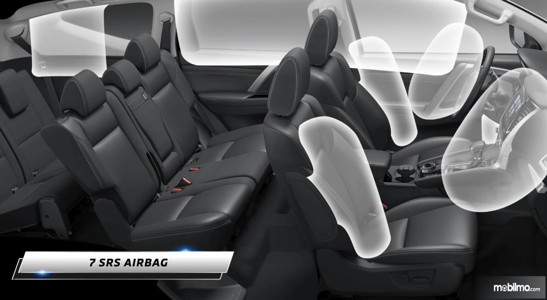 Gambar ini menunjukkan 7 SRS Airbags pada Mitsubishi New Pajero Sport Dakar Ultimate 4x4 AT 2021