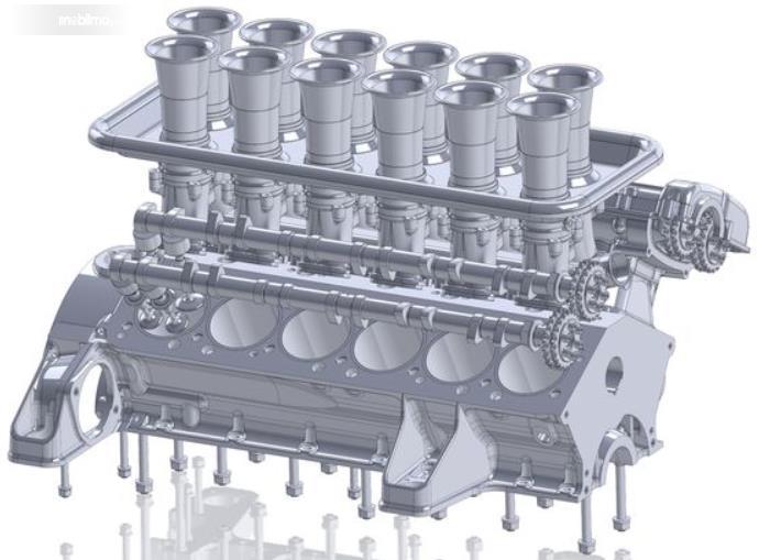 Gambar ini menunjukkan replika mesin mobil Mobil Ferrari 250 GTO Moderna