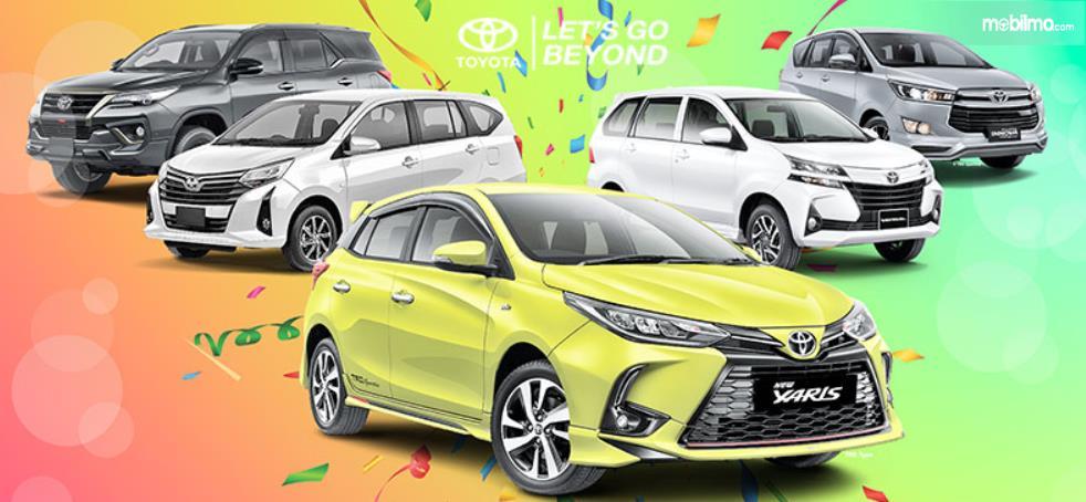 Gambar ini menunjukkan beberapa model mobil Toyota