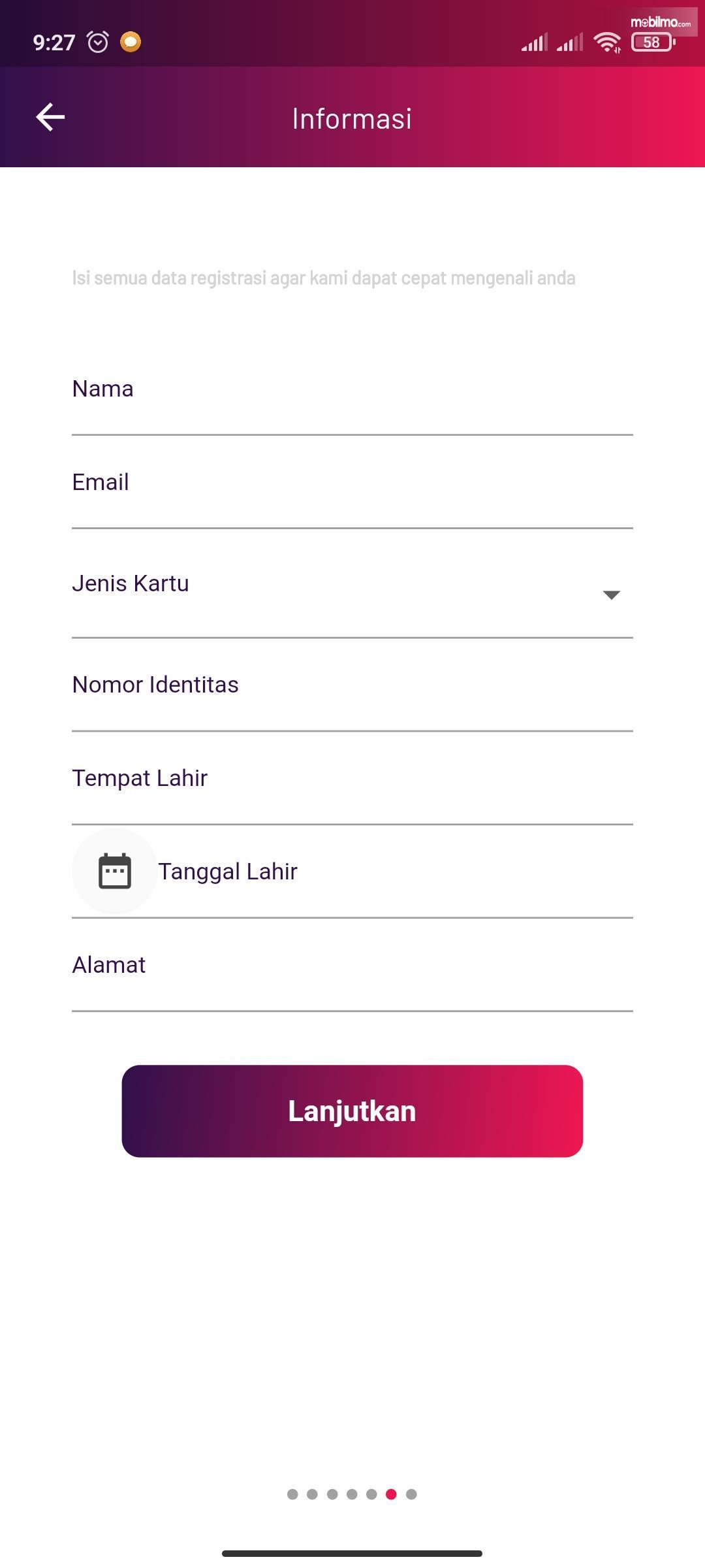 Gambar ini menunjukkan form informasi saat melakukan pendaftaran