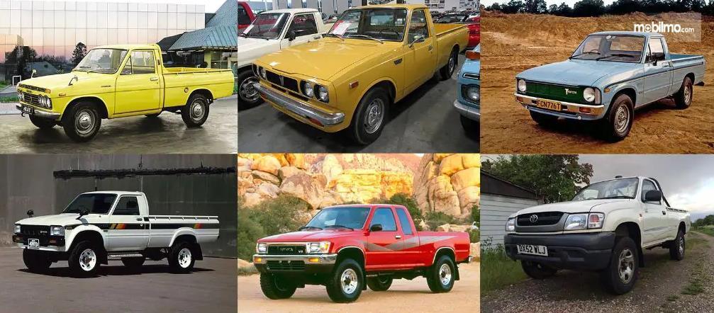 Gambar ini menunjukkan beberapa mobil Toyota Hilux Jaman dulu