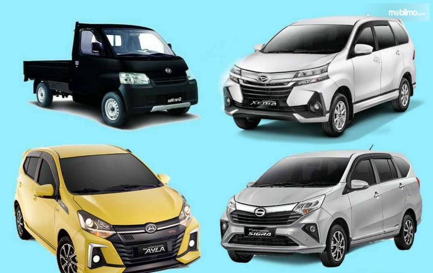 Gambar ini menunjukkan 4 mobil Daihatsu