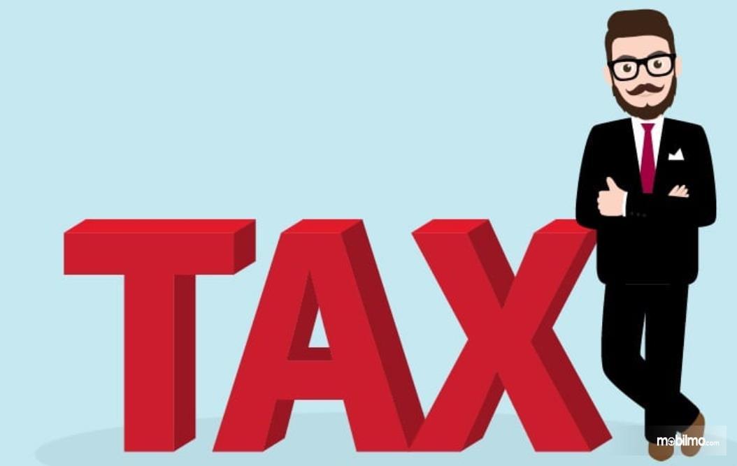 Gambar ini menunjukkan ilustrasi seseorang dan pajak