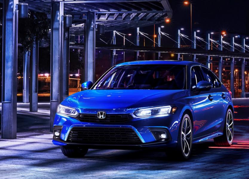 Gambar ini menunjukkan Mobil All New Civic Sedan Generasi Ke-11 depan warna biru
