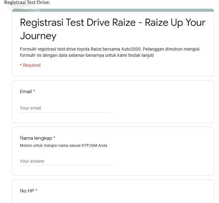Gambar ini menunjukkan kolom registrasi test drive Toyota Raize