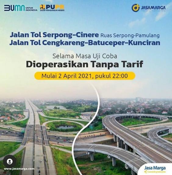 Gambar ini menunjukkan informasi dari Jasa Marga terkait tidak ada tarif jalan tol Serpong-Cinere Ruas Serpong-Pamulang