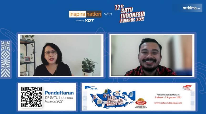 Gambar ini menunjukkan acara virtual 12th SATU Indonesia Awards 2021