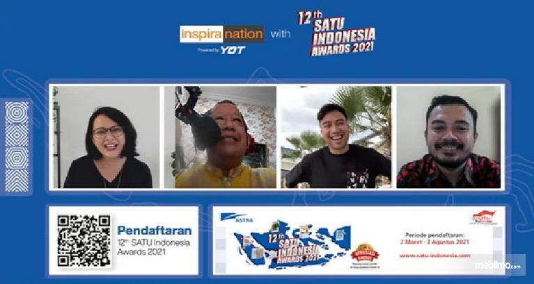Gambar ini menunjukkan beberap pembicara dan juri pada acara virtual inspiranation with 12th SATU Indonesia Awards 2021