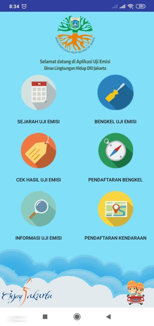 Gambar ini menunjukkan menu di Aplikasi uji emisi DKI Jakarta
