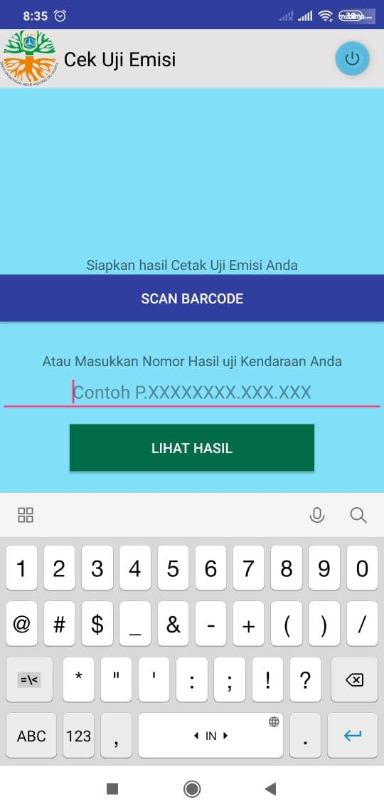 Gambar ini menunjukkan cek uji emisi pada Aplikasi uji emisi DKI Jakarta