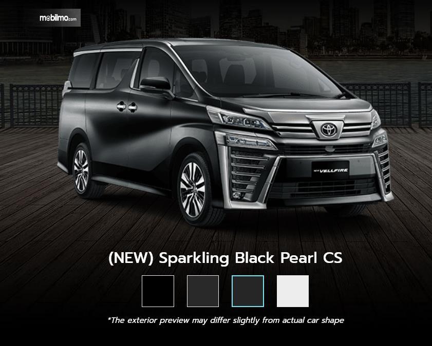 Gambar ini menunjukkan pilihan baru warna Sparkling Black Pearl Toyota New Vellfire