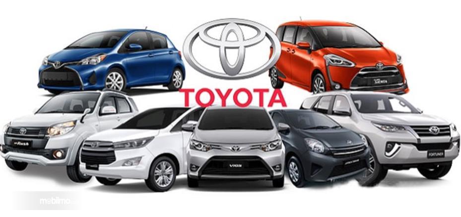Gambar ini menunjukkanbeberapa mobil Toyota