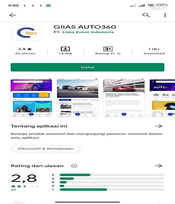 Gambar ini menunjukkan aplikasi GIIAS Auto360