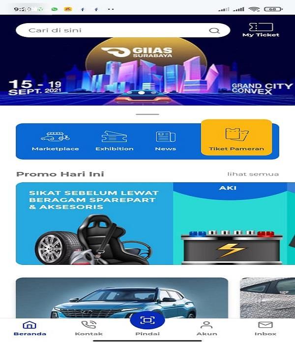 Gambar ini menunjukkan hompage aplikasi GIIAS Auto360