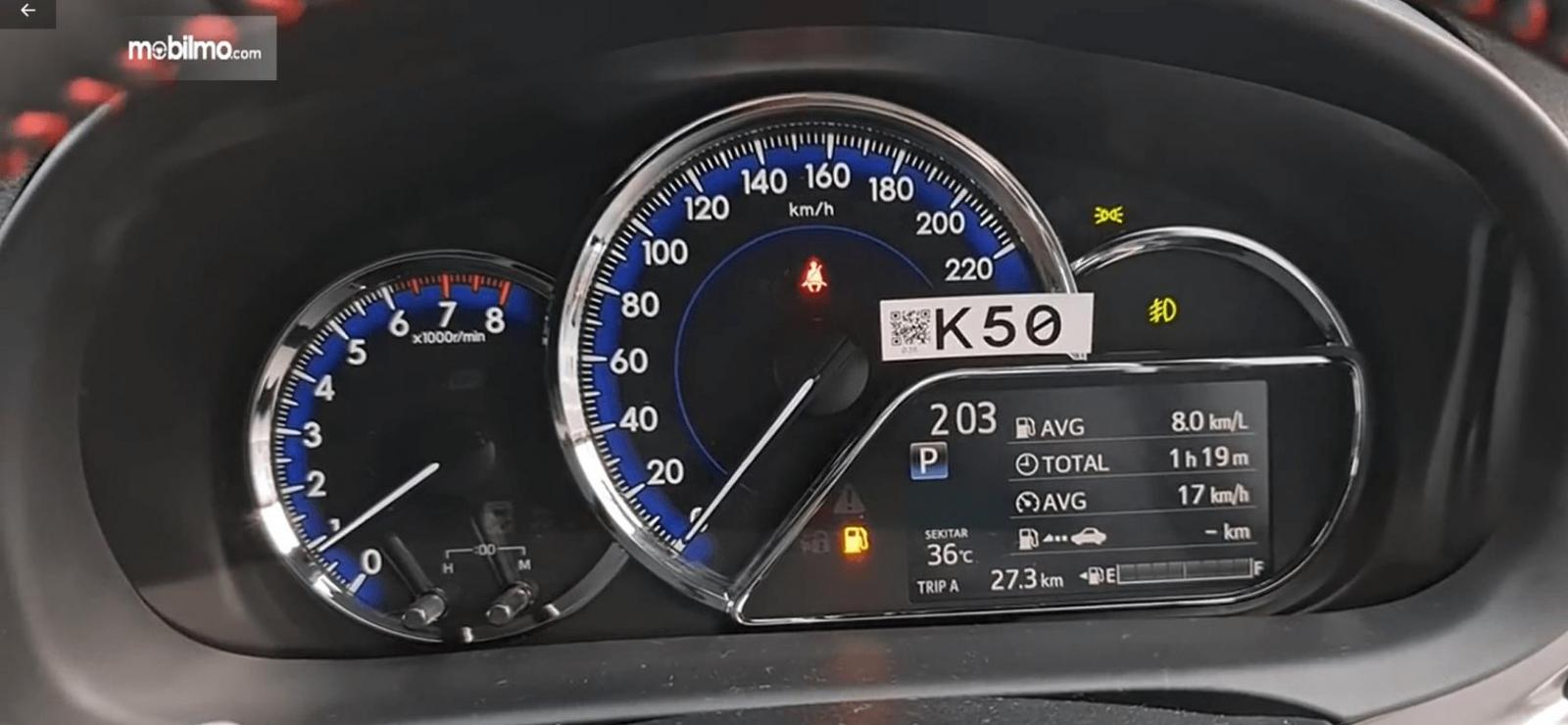 Gambar ini menunjukkan layar MID Toyota Yaris TRD Sportivo CVT 2020
