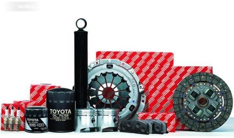 Gambar ini menunjukkan sparepart mobil Toyota