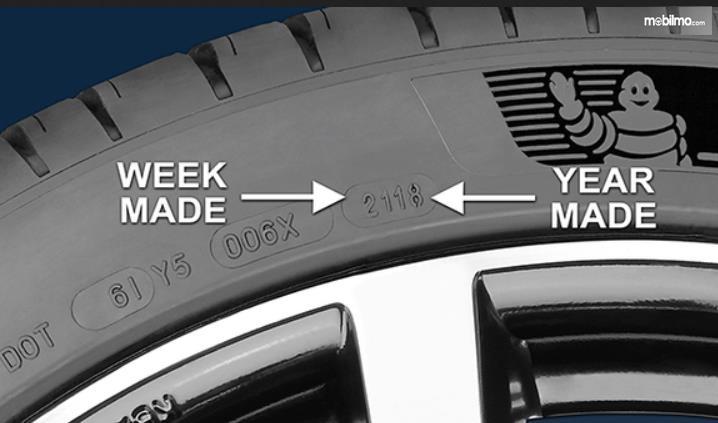 Gambar ini menunjukkan minggu dan tahun pembuatan ban mobil