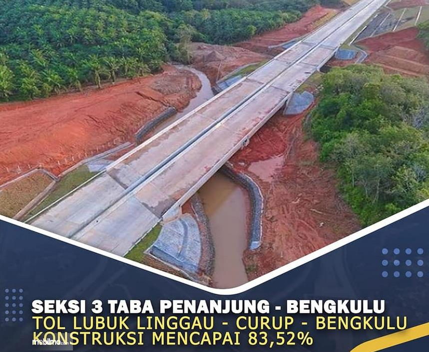 Gambar ini menunjukkan seksi 3 Jalan Tol Lubuk Linggau - Curup - Bengkulu