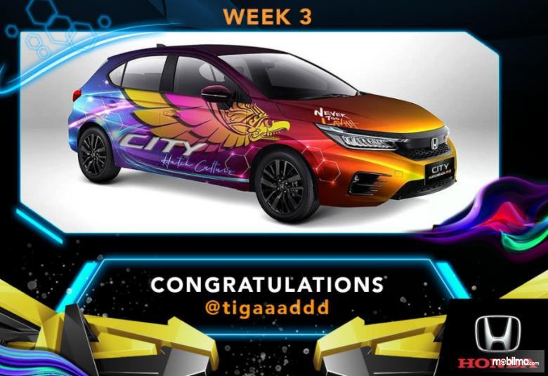 Gambar desain mobil pemenang Minggu ke 3 Kompetisi City Hatch Art