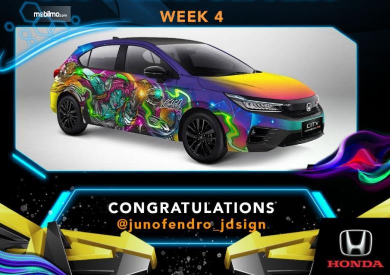 Gambar ini menunjukkan desain pemenang Kompetisi City Hatch Art Minggu keempat
