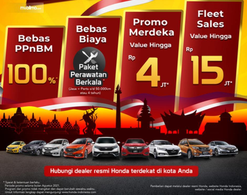 Gambar ini menunjukkan beberapa program menarik Honda di bulan Agustus