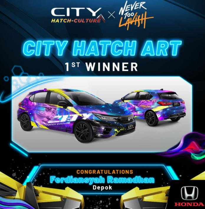 Gambar ini menunjukkan juara pertama pada kompetisi City Hatch Art