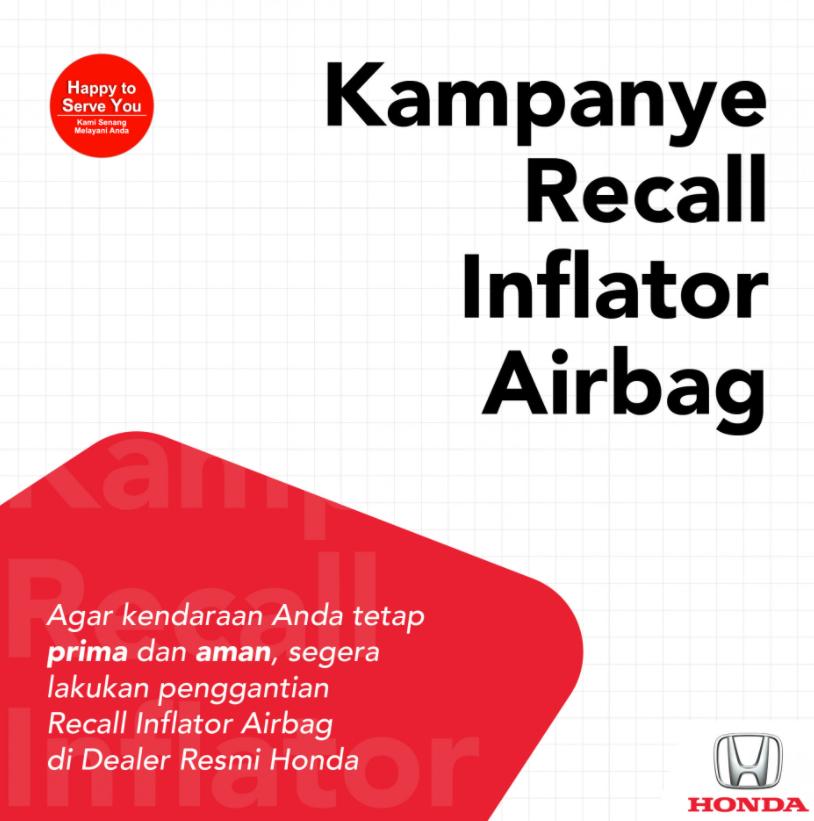 Gambar ini menunjukkan kampanye Honda masalah recall Inflator Airbag