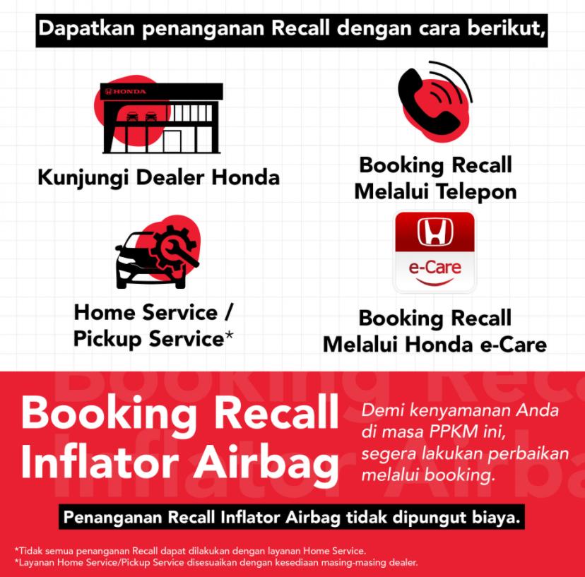 Gambar ini menunjukkan beberapa layanan Recall dari pihak Honda