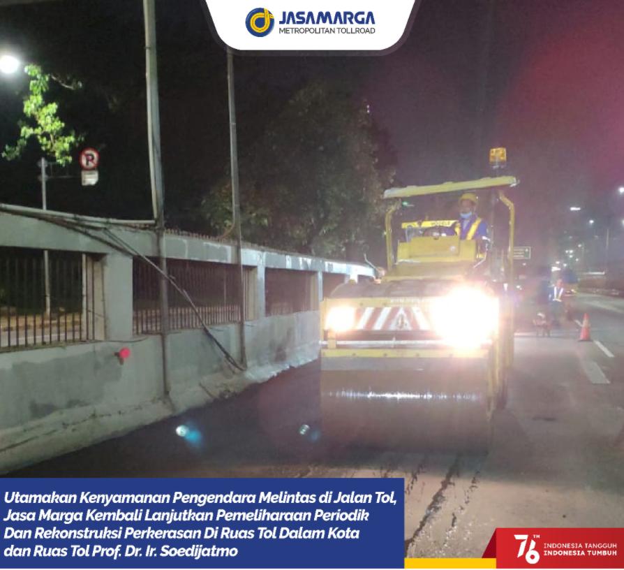 Gambar ini menunjukkan informasi rekontruksi di Jalan Tol Prof Dr.Ir Soedijatmo