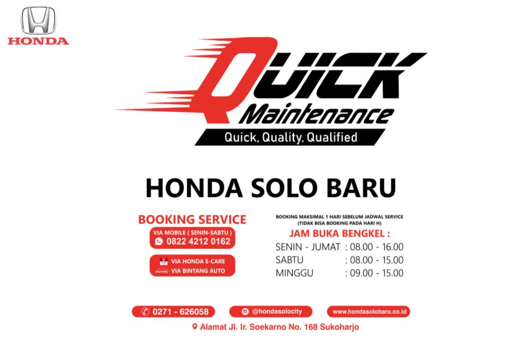 Gambar ini menunjukkan informasi mengenai Quick Maintenance di Solo
