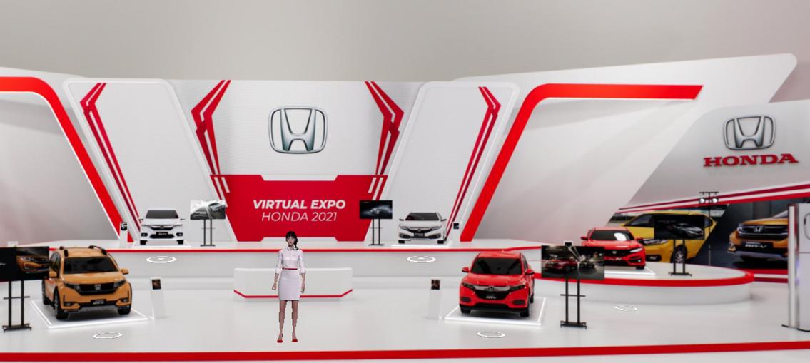 Gambar ini menunjukkan ilustrasi pameran virtual expo Honda
