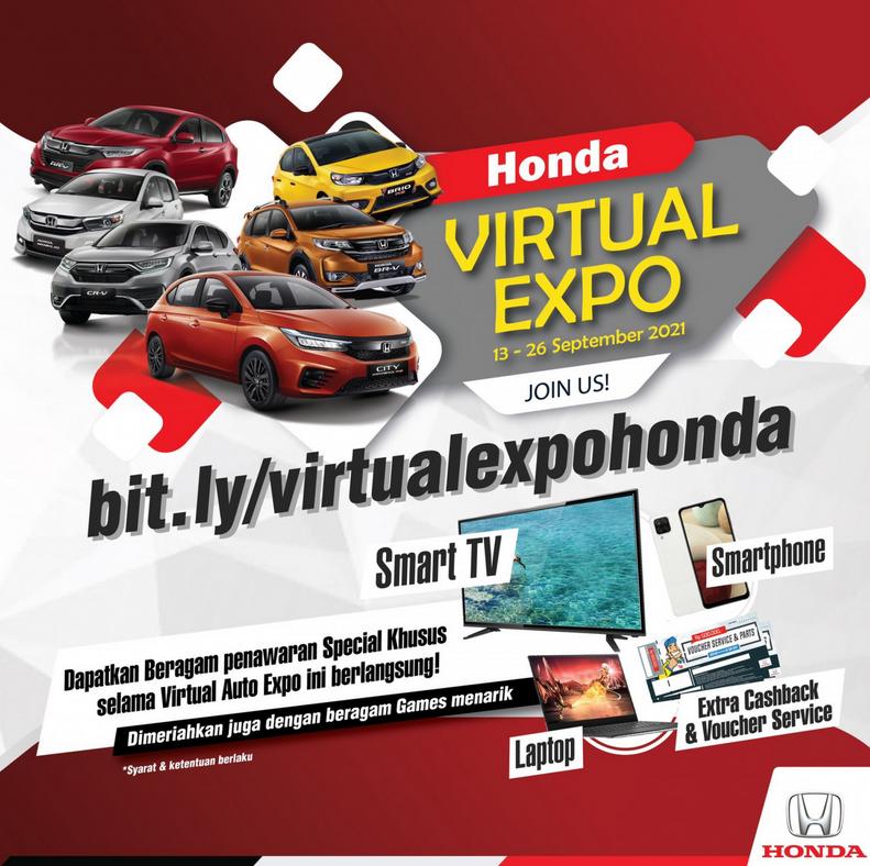 Gambar ini menunjukkan informasi pameran virtual expo Honda