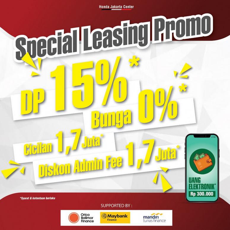 Gambar ini menunjukkan informasi special leasing promo dalam pamerang virtual expo Honda