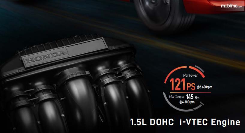 Gambar ini menunjukkan ilustrasi mesin mobil Honda City Hatchback RS