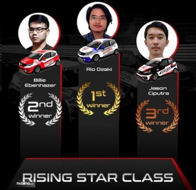 gambar ini menunjukkan juara HRSC 2 pada kelas Rising Star